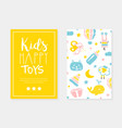 kids happy toys card template with cute batoys vector image vector image