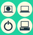 laptop icons set collection of laptop power on vector image vector image