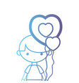 line boy with hairstyle design and heart balloon vector image vector image