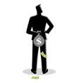 man hiding a money bag behind his back vector image vector image