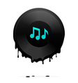 Melted vinyl record with musical notes vector | Price: 1 Credit (USD $1)
