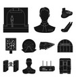 metro subway black icons in set collection for vector image vector image