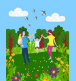 mother father son and daughter walking together vector image vector image