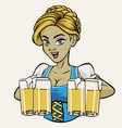 oktoberfest lady with the beers vector image vector image