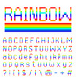 pixel rainbow font 8-bit symbols digital video vector image vector image
