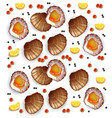 scallops pattern realistic seafood fresh vector image