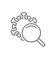 searching coronavirus linear icon on white vector image