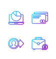 set line briefcase and money job promotion vector image vector image