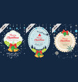 set of merry christmas and happy new vector image