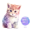 set watercolor cute cat vector image