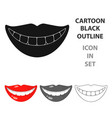 smile with white teeth icon in cartoon style vector image vector image