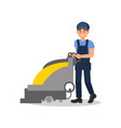 smiling guy working with vacuum scrubber man in vector image vector image