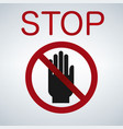 stop hand icon vector image vector image