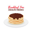 tasty pancake with chocolate on white plate vector image vector image