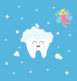 tooth icon tooth fairy flying wings magic wand vector image vector image