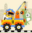 tow truck cartoon with funny driver vector image vector image