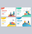travellers and travel landing page vector image