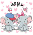two cute cartoon elephants and butterflies vector image vector image