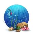 underwater rocks with seahorse
