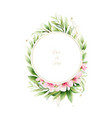 watercolor wreath pink flowers and green vector image