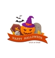 Witch pumpkin and cemetery vector image