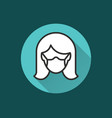 woman in medical face mask icon for graphic and vector image vector image