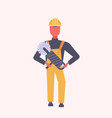 young construction worker holding handheld vector image vector image