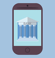 Flat design of smart phone with bank icon Concept vector image
