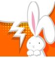 White cute rabbit orange comic bubble vector image