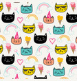happy cat for kids with hand drawn pattern vector image