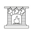 a fireplace a hearth a chimney a mantelpiece icons vector image vector image