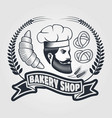 bakery or bread shop logo emblem with chief and vector image vector image