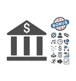 Bank Building Flat Icon With Bonus vector image vector image