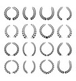 black laurel wreath icons set vector image vector image
