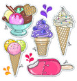 bright cold desserts soft ice cream in waffle vector image