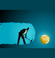 businessman digging and mining to find bitcoin vector image