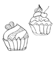 Cake contour black and white vector image vector image