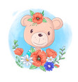 cartoon teddy bear portrait with wreath poppies vector image vector image