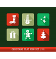 Colorful Merry Christmas flat icons set vector image vector image