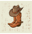 cowboy boots and hat graphic vector image