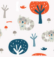 cute racoon in the wood seamless pattern vector image