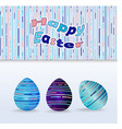 easter eggs with a geometric pattern in a pink vector image