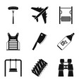 family leisure icons set simple style vector image vector image