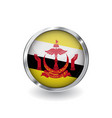 flag of brunei button with metal frame and shadow vector image vector image