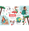 flat travel infographic template vector image vector image