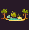 forest with trees pond stones and beehive vector image