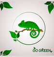 go green concept with chameleon logo vector image