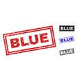 Grunge blue scratched rectangle stamp seals