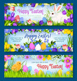 happy easter paschal eggs bunny banners set vector image vector image