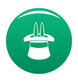 hat with a rabbit ear icon green vector image vector image